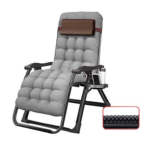 LIYANJJ Zero Gravity Chair Übergroßer Liegestuhl Tragbare Klappvorrichtung mit verstellbarem Baumwollkissen für die Kopfstütze