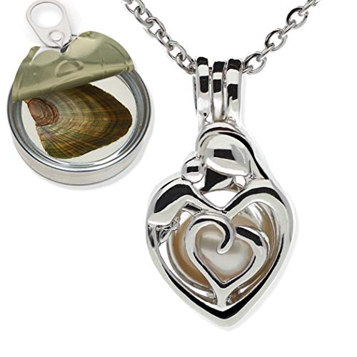 Pearlina Mother Child Silver tone Cage Cultured Pearl in Oyster Necklace Set w/Stainless Steel Chain 18'