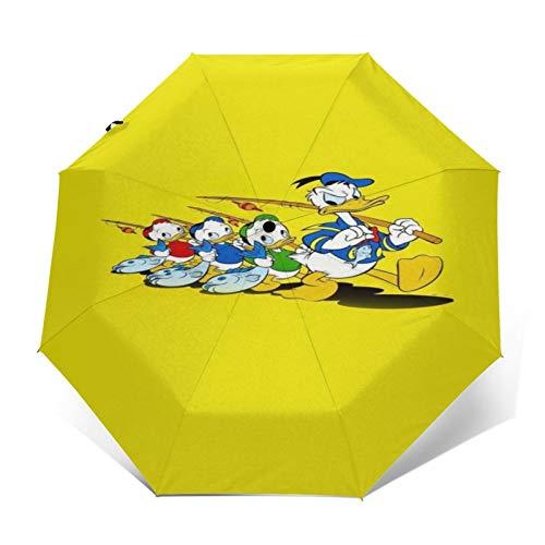 Kompakter Trifold Travel Anti-UV-Regenschirm mit automatischem Öffnen/Schließen, winddichter, Faltbarer, Leichter Sonnenschirm im Freien,Gelbe Angelrute von Disney Donald Duck