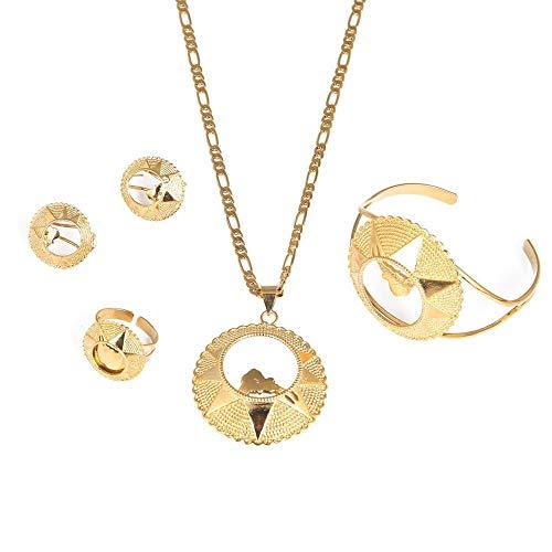 Conjuntos de joyas de novia de Eritrea para boda, collar, pendiente, colgante, brazalete, anillo, Eritrea, África, joyería etíope