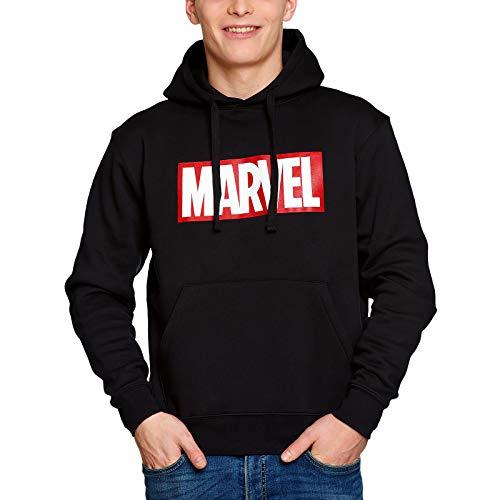 Marvel Elbenwald Hoodie Logo Frontprint mit Kapuze für Herren schwarz - M