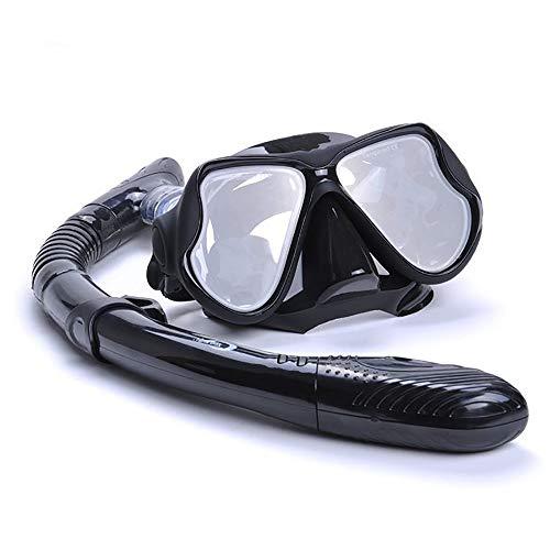 Traje de máscara Juego de Snorkel Duradero for Adultos, Vasos Anti-Niebla Gafas de Snorkel for Snorkel, natación y Buceo Adecuado para Snorkeling (Color : Black, Size : One Size)