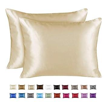 ShopBedding Luxury Satin Pillowcase for Hair – Queen Satin Pillowcase with Zipper Ivory  Pillowcase Set of 2  – Blissford
