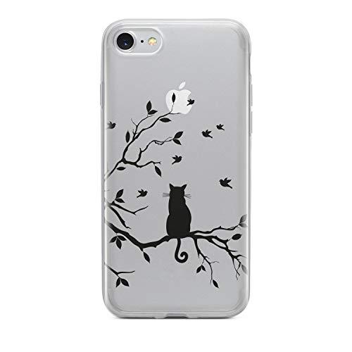 finoo   iPhone 7 Weiche Flexible Silikon-Handy-Hülle   Transparente TPU Cover Schale mit Motiv   Tasche Case Etui mit Ultra Slim Rundum-Schutz   Katze auf AST
