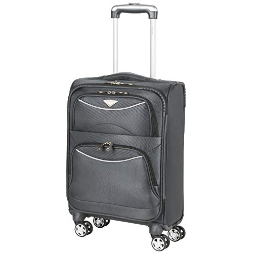 Flight Knight Lightweight 8 Wheel 1680D Soft Case Suitcases Maximum Size For Delta, United and SkyWest Airlines - Cabin Charcoal FFK0041_S