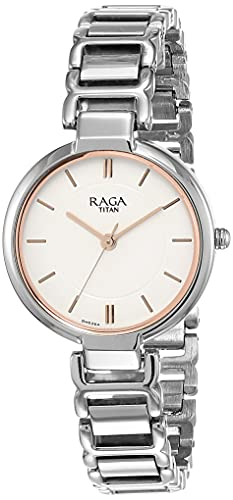 Titan Raga - Reloj analógico con correa de metal plateada y esfera blanca para mujer