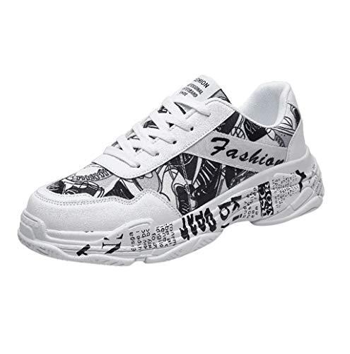 Herren Sneaker Sportschuhe Laufschuhe Bequem Atmungsaktiv Ultra-Light rutschfeste Turnschuhe Sneakers Modisch Graffiti Stoffschuhe Low Top Wanderschuhe Sport Freizeitschuhe Outdoor TWBB