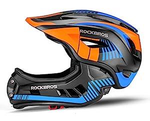 ROCKBROS Kinderhelm Integriert Fahrradhelm Kinder Jugend Fullface Helm mit Abnehmbarem Kinnschutz Downhill Helm Blau M 53-58cm