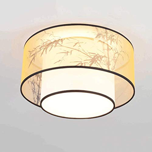YANQING Lampe - Deckenleuchten Neue chinesische Tuch-Decken-Lampe, Doppeltuch Tinte Lampshade, Warm Retro Wohnzimmer Schlafzimmer Arbeitszimmer Decke Deckenleuchten (Farbe: B)