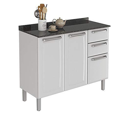 Balcão de Cozinha com Tampo 3 Portas 2 Gavetas Luce Itatiaia Branco