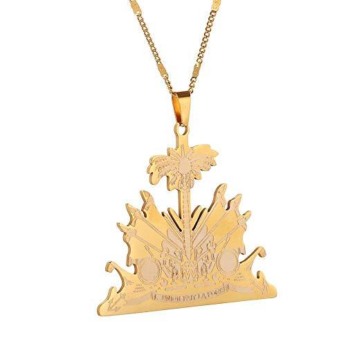 YHHZW Collar Collar Haití De Acero Inoxidable Cadena Moda Ayiti Haití-Gold_Colour