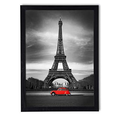 Cuadro en marco, póster moderno, pared artística, varios temas de 50 x 70 cm (Torre Eiffel y coche)