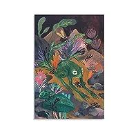 ハス池のカエルキャンバスプリント壁の装飾モダンポップアートエントランス絵画キャンバ壁掛けインテリア絵画部屋の装飾フレームなし 20×30inch(50×75cm)