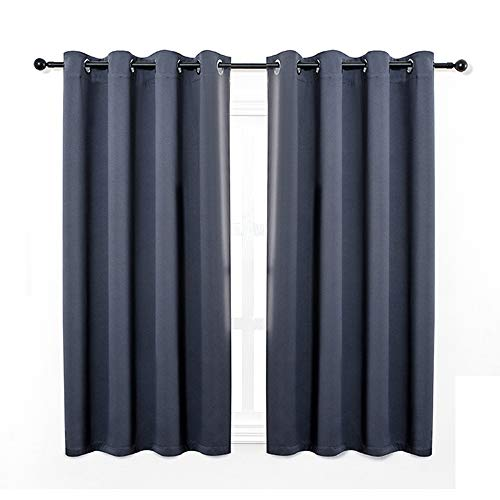 Anjee Eyelet Blackout Thermal Insulated Curtains 2 Panels 46 x 54 inch for Living Room/Bedroom/Nursery with 2 Matching Tie Backs Navy Blue