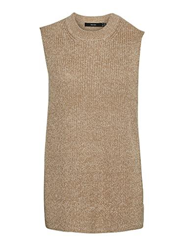 VERO MODA Damen VMLEA SL O-Neck Vest NOOS Weste, Tan/Detail:W. Birch/Silver Mink, XL