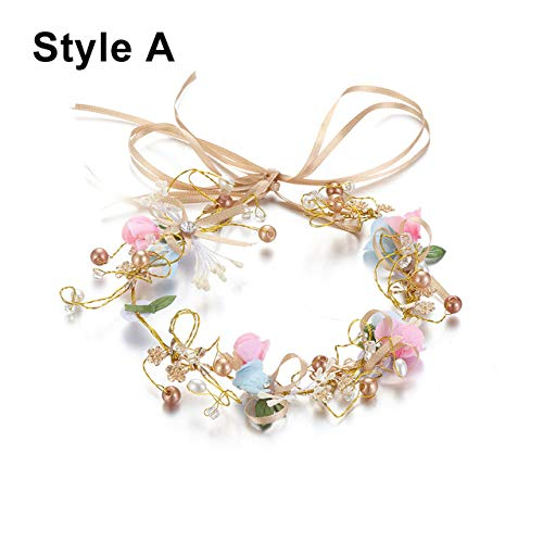 RFGHATG Bridal Wreath hoofdband dames bohemian haaraccessoires Bride Flowers Crown Tiara Holiday Headdress Ladies Hair Accessoires