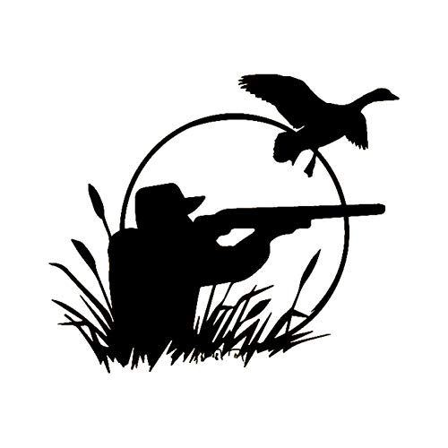 Car Sticker 2 Pack Hunter Wild Duck Hunting Car Decals Vinyl Waterproof And Durablestickers Fashion Car-Styling Black/Silver 18Cm*15.4Cm