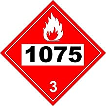 Pack of 5 UN # 1075 Flammable Gas Class 2 Placard 273.05mmx273.05mm Warning Sign Stickers Vinyl Self Adhesive Safety Danger Alert Notice Sign for Office School Restaurant