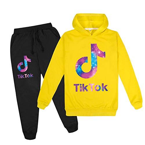 Tik Tok Hoodies Hosen Set Tik Tok T-Shirt für Kinder Tik Tok Hoodie Sweatersuit Jungen Mädchen Hoodies + Hosen 2-teiliges Outfits Set 140cm