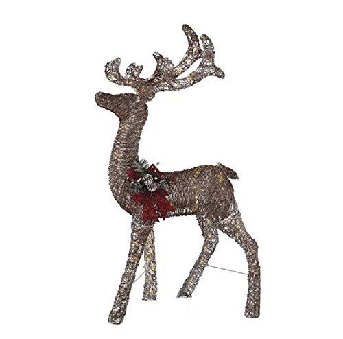 Holiday Home Lighted Brown Rattan Buck Deer Sculpture Outdoor Christmas Decoration Yard Decor