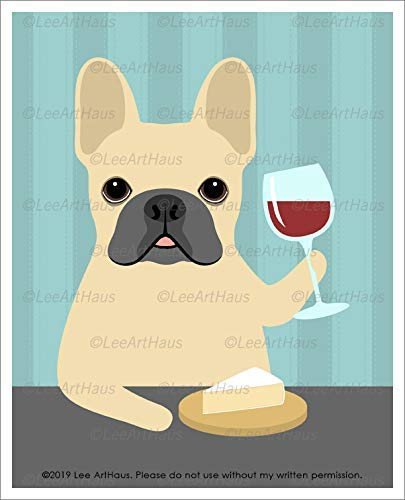 674D - Fawn French Bulldog Drinking Bottle of Wine UNFRAMED Wall Art Print by Lee ArtHaus