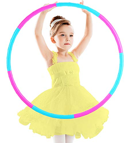 BILIGILA Fitness Exercise Hoops for Kids Detachable Adjustable Weight Size Plastic Colorful Hoops Toy
