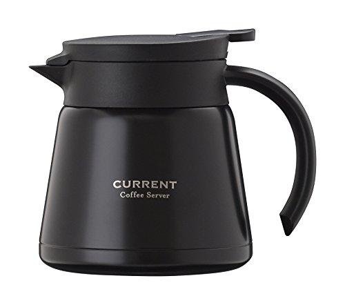 Atlas(アトラス) CURRENT 【カレント】 ドリッパーが直接使える ステンレス コーヒー サーバー 0.6L ブラック ACS-601BK 【 珈琲 Coffee 卓上 ポット 】 真空 断熱 2重構造 ダブル ステンレス