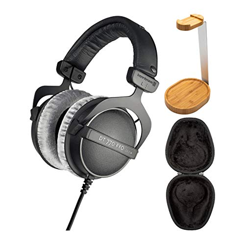 Beyerdynamic DT 770 PRO 80 Ohm Over-Ear Studio Headphones (Black) with Knox Gear Hard Shell Headphone Case and Knox Gear Wooden Headphone Stand Bundle (3 Items)