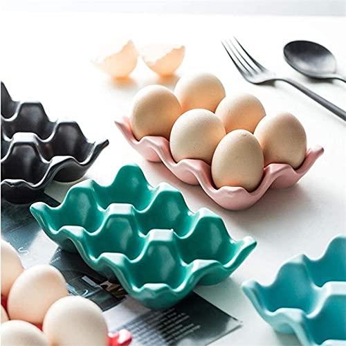 PPuujia Bandeja para huevos con 6 rejillas para huevos de cerámica antideslizante para nevera, bandeja para huevos a prueba de golpes, soporte multifunción para huevos (color: rojo)