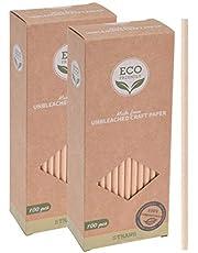 Spetebo Papieren rietjes, 200 stuks, van ongebleekt kraftpapier, 100% biologisch afbreekbaar, geschikt voor koude en warme dranken, wegwerprietje, 19 cm