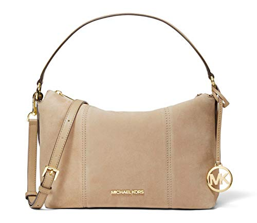 """Soft Suede Leather and Pebbled Leather Trim with Gold Tone Hardware Zip Top Closure Interior Zip Pocket and Slip Pocket Handle Drop 5.5"""", Adjustable Shoulder Strap 18.5""""–22"""" 10.5""""W X 9""""H X 5.25""""D"""