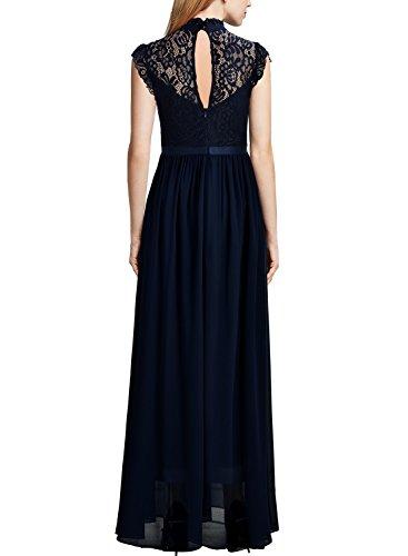 Miusol Damen Elegant Spitzen Abendkleid Brautjungfer Cocktailkleid Chiffon Faltenrock Langes Kleid Dunkelblau Gr.XL - 2