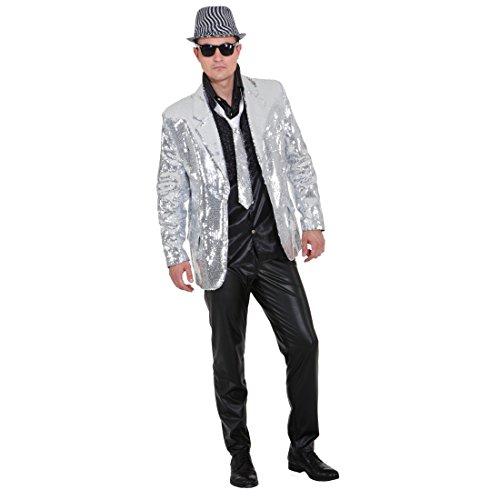 NET TOYS Showjacket Silber Pailletten Jacke Glitzerjacke Showmaster Glitzer Pailletten Show Jacket Paillettenjacke Herrenjacke XL 56/58