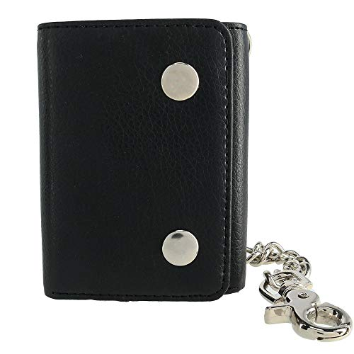 CTM Men's Vegan Leather Chain Wallet, Black