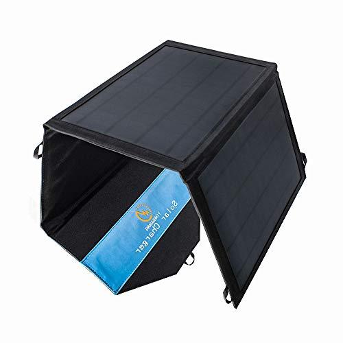 ソーラーチャージャー21W ソーラーパネル 3枚搭載 2USB出力ポート 太陽光発電 防水 折りたたみ式 アウトドア/登山/防災グッズ キャンプ 山登り 非常時用【12ヶ月保証】(21W)