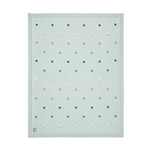 Lässig 1542005561 - Manta de punto para bebé algodón orgánico/knitted blanket gots dots, unisex Lot de 1