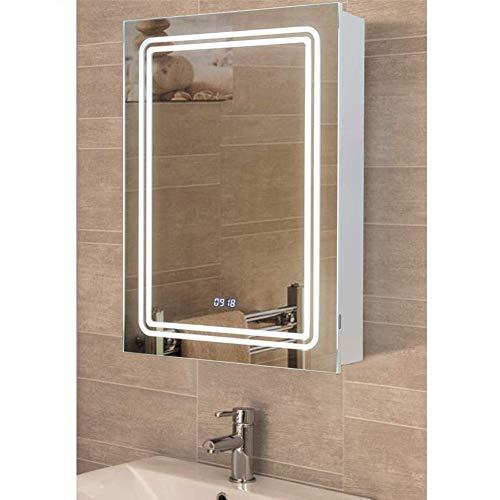 Warmiehomy LED Badezimmer Spiegelschrank mit Beleuchtung Anti Fog Verdeckter Demister Rasierer Steckdose Sensor Schalter Zeitanzeige Modern Beleuchteter Spiegel 700 x 500 mm