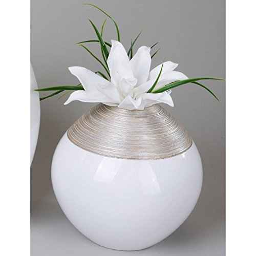 formano Deko Kugelvase Champagner D. 25cm Creme + weiß Keramik