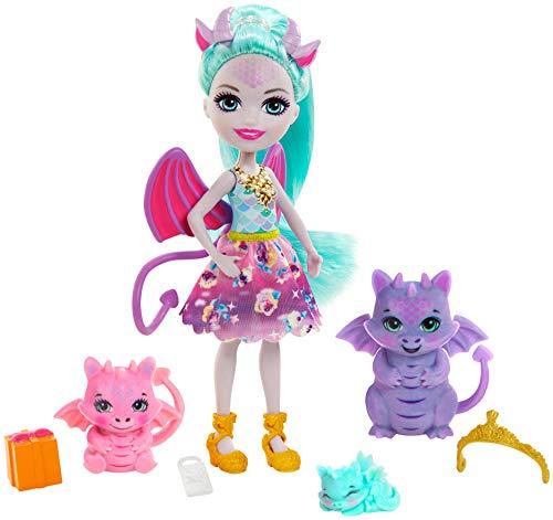 Enchantimals GYJ09 - Deanna Dragon Familie Spielset, Puppe (15,2 cm) mit 3 Drachenfiguren und 4 Zubehörteilen, aus der Royals Kollektion, tolles Geschenk für Kinder von 3 bis 8Jahren