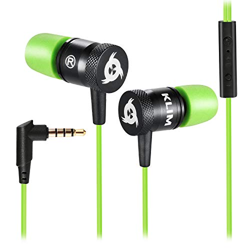 KLIM Fusion Auricolari con Microfono + Audio di Alta qualità + Cuffie di Lunga Durata con Memory Foam + Garanzia 5 Anni - Jack 3.5 mm per iOS Android PC Console + Nuova Versione 2020 + Verde