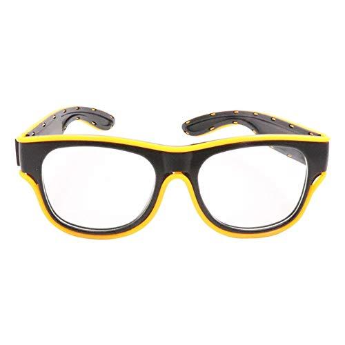 HoneybeeLY Halloween-Brille, Leuchtend, kabellos, Neonblinkend, Partygeschenke, wiederaufladbar, USB, Disco, Bar, gelb, ·
