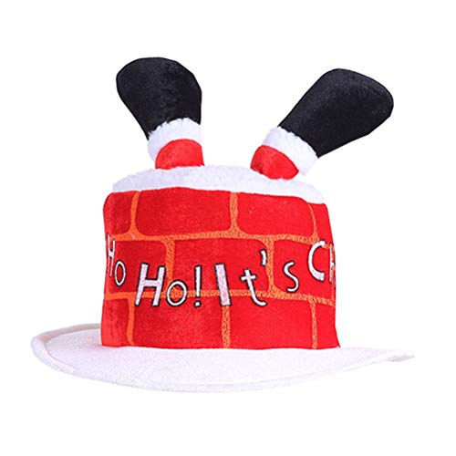 Gorros de Pap Noel, disfraz navideo y accesorios rojos clsicos de Pap Noel. Divertido gorro de fiesta para chimenea, atractivo adorno navideo