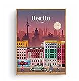 Póster de turismo Amsterdam Bangkok Barcelona Berlín póster de pintura impresiones lienzo cuadro de pared para la decoración de la habitación del hogar-50x70cm sin marco
