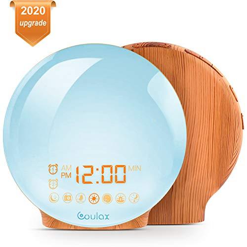 [Upgraded Version] COULAX Wake Up Licht Lichtwecker Holzoptik Tageslichtwecker Licht Wecker mit 2 Weckzeiten 7 Naturgeräuschen und UKW-Radio Snooze Wake Up Light Alarm Clock für Erwachsene & Kinder