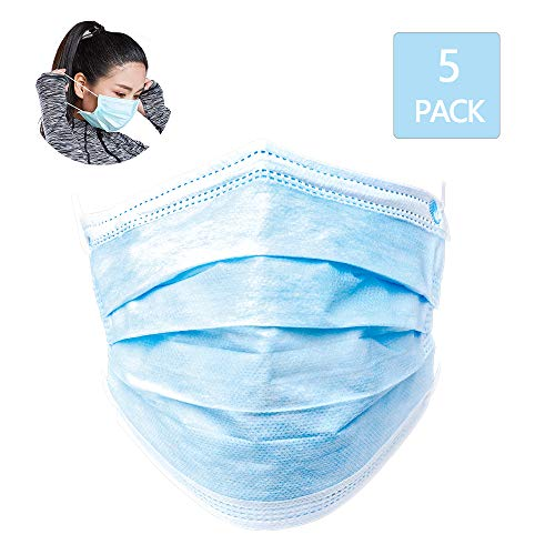 Disposable Face Covers, 3-Ply Safety and Breathable Mouth Covers for Personal Health Air Pollution with Blue Colors
