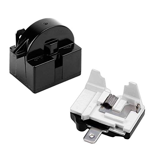 QP2-4.7 Starter Relay, QP2-4r7 Relay and Overload 1 Pin Refrigerator Starter Relay and 6750C-0005P Refrigerator Overload Protector, Mini Refrigerator Parts Compatible with LG Refrigerator Compressor