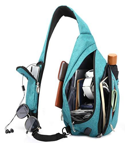 Magictodoor Sling Bag for Men Women Travel Packs Chest Backpack w/Anti-theft RFID Blocking Pocket & USB Charging Port (Azure Blue)