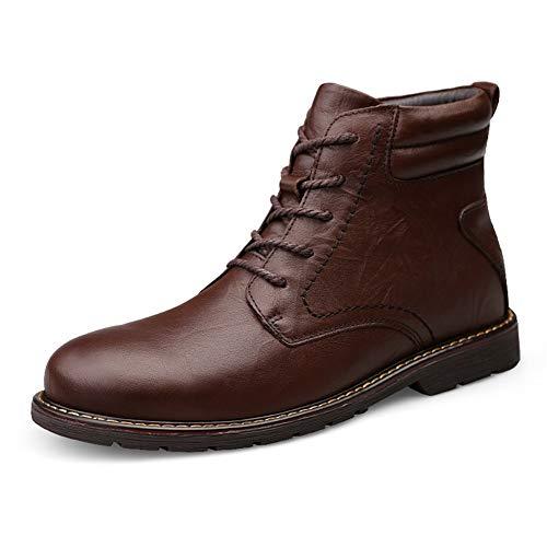 CAIFENG Zapatillas de skate para hombre, de piel auténtica, para caminar, citas, viajes, conducción, zapatos casuales, antideslizantes, planos, punta redonda sólida (color marrón, talla: 47 EU)