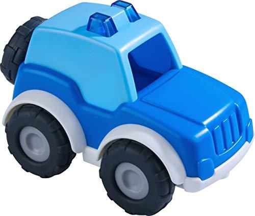 HABA 305179 - Spielzeugauto Polizei, Einsatzfahrzeug für Kinder ab 2 Jahren mit Ersatzrad und Anhängerkupplung, Polizeiauto 13 cm für drinnen und draußen