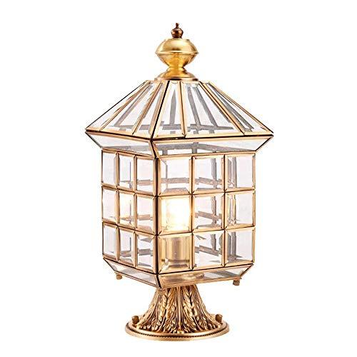 Suave, no deslumbrante Column headlight Todos los faros de cobre Pilar, impermeable al aire libre de las luces pilar de la puerta, patio al aire libre Villa de la cerca de la puerta de las luces en to